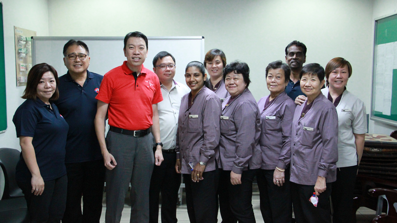 With the advancements in our bus systems, Chief Bus Captain Madam Lim Poh Suan (front row, in purple third from right) who has been driving buses for some 35 years is now able to perform bus engine checks through relying on dashboard indicators, instead of having to manually lift the engine bonnet.