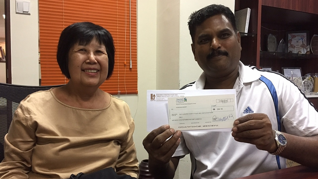 After exhausting as many avenues as possible, BATU Deputy Executive Secretary Jennie Yeo and her team finally managed to contact Mr Pandian Sekar and return him his owed salary.