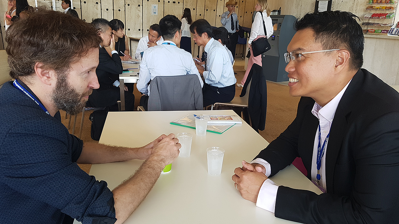 A meeting of minds between NTUC Assistant Secretary-General Patrick Tay and Stephen Russell of the United Kingdom Trades Union Congress.