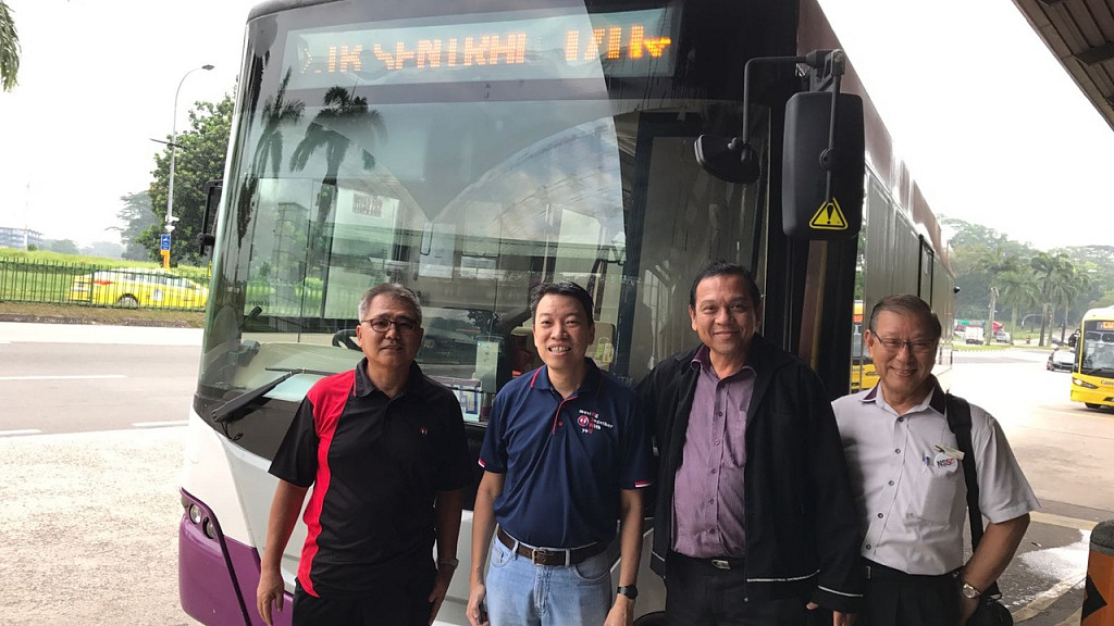 National Transport Workers' Union (NTWU) Executive Secretary Melvin Yong (second from left) and Gobidass (third from left) (Photo Source: NTWU)