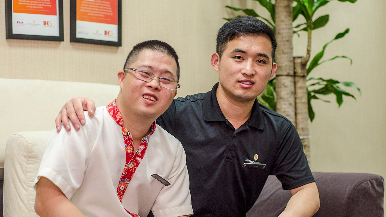 IHG Singapore Houseman Guan Chau Kok with his supervisor Ren Shao Wei who makes an extra effort to look after him and explain new tasks simply and patiently.