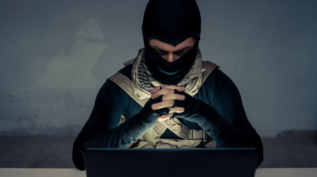 Terrorist Carrying Out A Cyber Attack