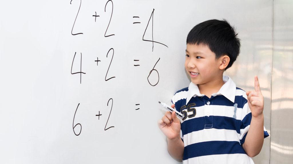 Preschool Child Learning Simple Mathematics