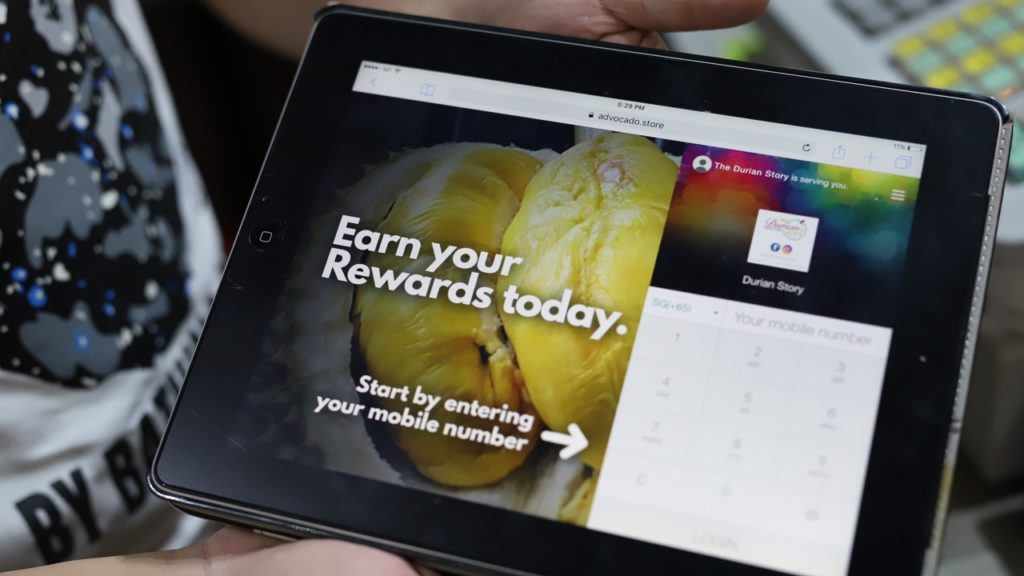 Technology, such as this point-of-sales system allows The Durian Story to better engage with their customers and offer rewards by way of cashback.