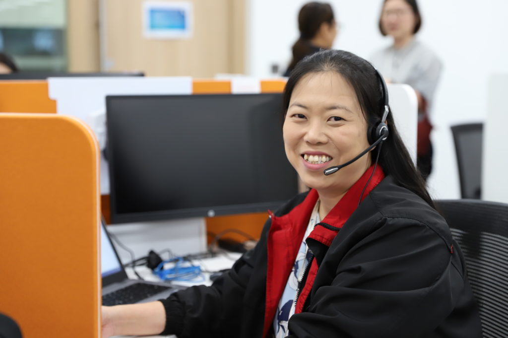Senior customer relations officer Pearly Ha has been undergoing training to support customers digitally through a chatbot