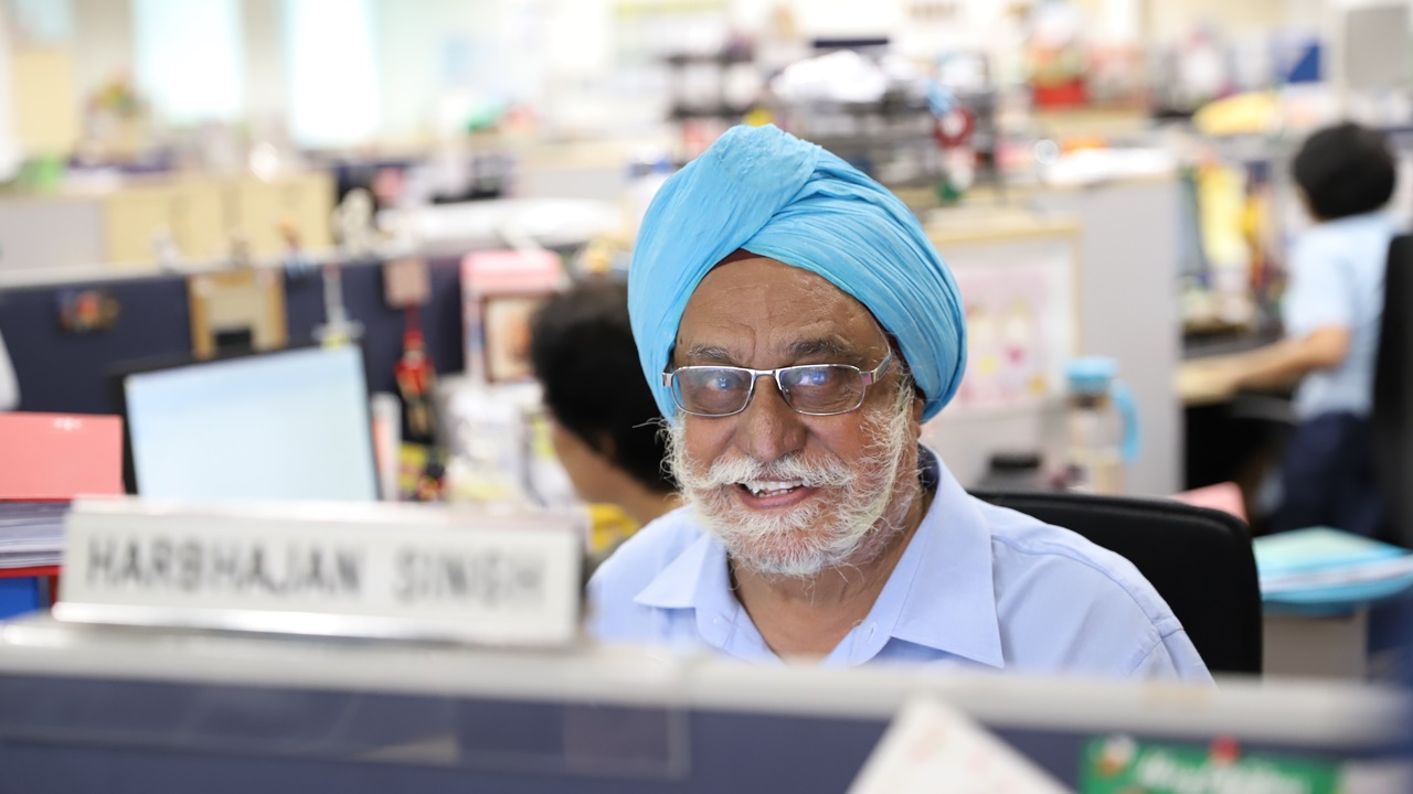 Despite his age, Mr Harbhajan Singh has gotten familiar with technology at work.
