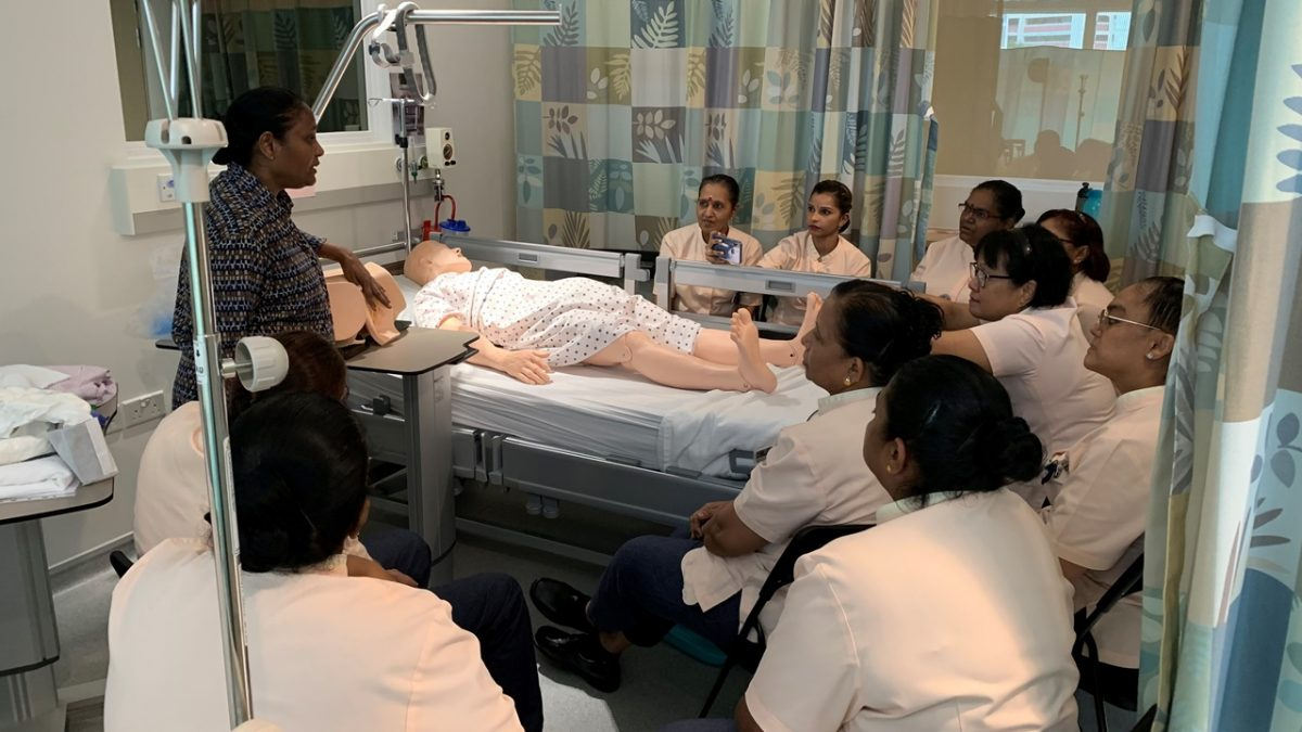 Porters going for training at Khoo Teck Puat Hospital